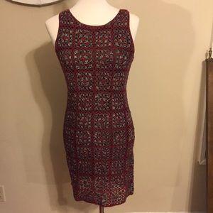 Patterned, stylish wool blend cocktail dress